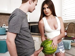 StepSister Caught Brother Masturbating With A Watermelon blowjob 3movs